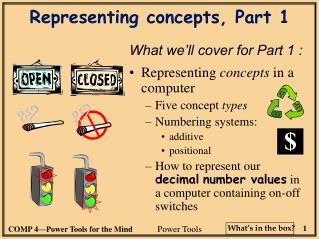 Representing concepts, Part 1