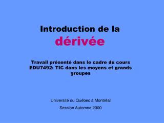 Introduction de la dérivée