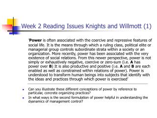 Week 2 Reading Issues Knights and Willmott 1