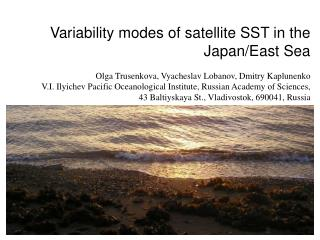 Variability modes of satellite SST in the Japan/East Sea