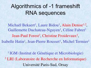 Algorithmics of -1 frameshift RNA sequences