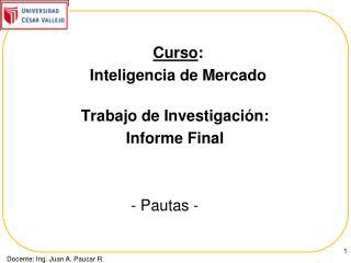 Trabajo de Investigaci�n: Informe Final              - Pautas -