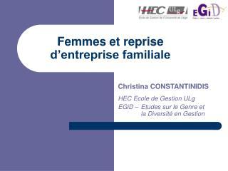 Femmes et reprise d entreprise familiale
