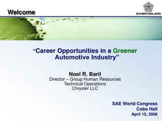 Careers in a Greener Automotive Industry powerpoint