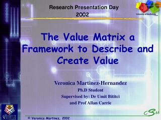 The Value Matrix a Framework to Describe and Create Value