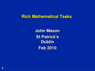 Rich Mathematical Tasks