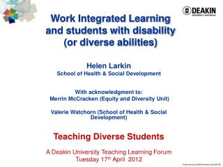 Work Integrated Learning and students with disability (or diverse abilities)