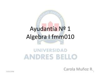 Ayudantía Nº 1 Algebra I fmm010