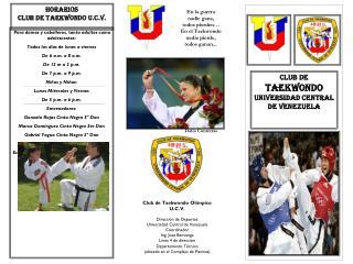 HORARIOS  CLUB DE TAEKWONDO U.C.V.