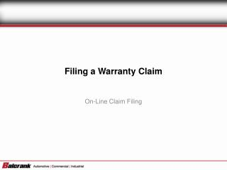 Filing a Warranty Claim