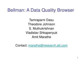 Bellman: A Data Quality Browser