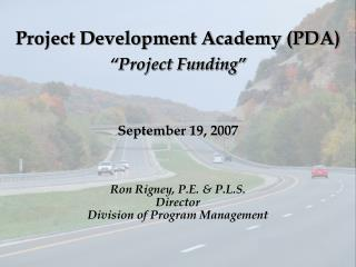 "Project Development Academy (PDA) ""Project Funding"""