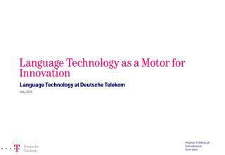 Deutsche Telekom AG Zentralbereich Innovation