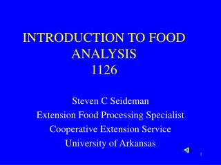 INTRODUCTION TO FOOD ANALYSIS 1126
