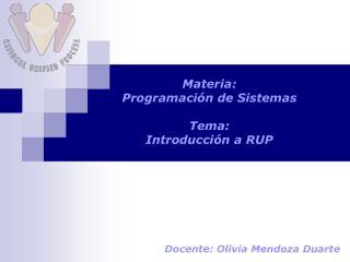 Materia:  Programación de Sistemas Tema:   Introducción a RUP
