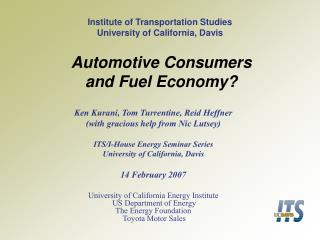 Automotive Consumers and Fuel Economy?