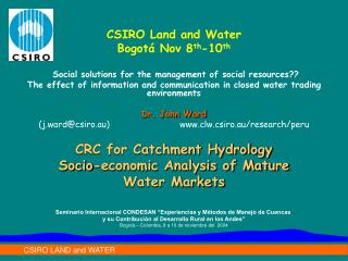 CRC for Catchment Hydrology Socio-economic Analysis of Mature Water Markets