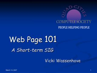 Web Page  101 A Short-term SIG