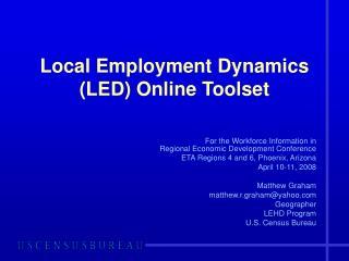 Local Employment Dynamics (LED) Online Toolset