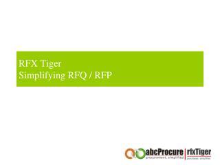 RFX Tiger Simplifying RFQ / RFP