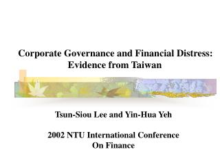 Corporate Governance and Financial Distress: Evidence from Taiwan