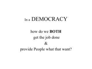 In a  DEMOCRACY