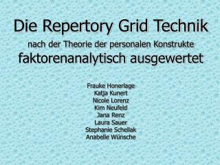 Die Repertory Grid Technik nach der Theorie der personalen Konstrukte faktorenanalytisch ausgewertet  Frauke Honerlage K