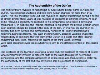The Authenticity of the Qur'an