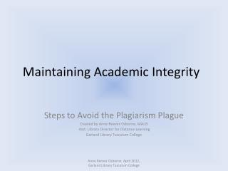 Maintaining Academic Integrity