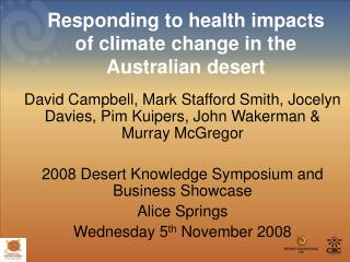 Responding to health impacts of climate change in the Australian desert