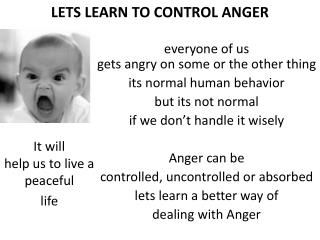 LETS LEARN TO CONTROL ANGER