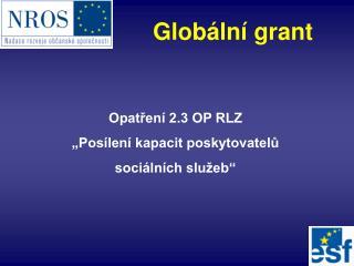 """Opatření 2.3 OP RLZ  """"Posílení kapacit poskytovatelů  sociálních služeb"""""""