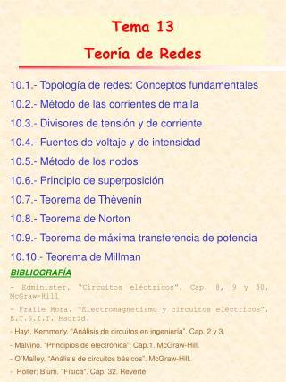 Tema 13  Teoría de Redes