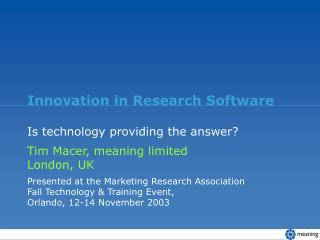Innovation in Research Software