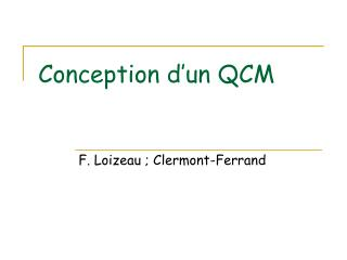 Conception d'un QCM