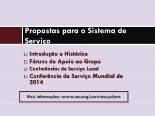 Propostas para o Sistema de Serviço