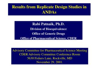 Results from Replicate Design Studies in ANDAs