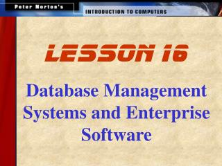 Database Management Systems and Enterprise Software