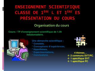 Enseignement scientifique  Classe de 1 ère  L et 1 ère  ES  Présentation du cours