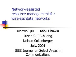 Network-assisted  resource management for  wireless data networks