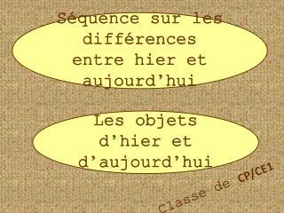 Séquence sur les différences entre hier et aujourd'hui