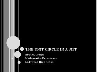 The unit circle in a jiff