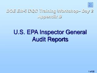 U.S. EPA Inspector General  Audit Reports