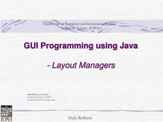 GUI Programming using Java  - Layout Managers