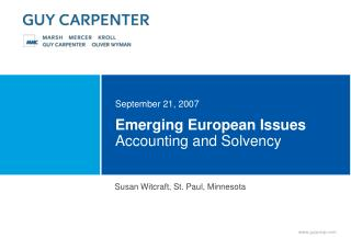 Emerging European Issues  Accounting and Solvency