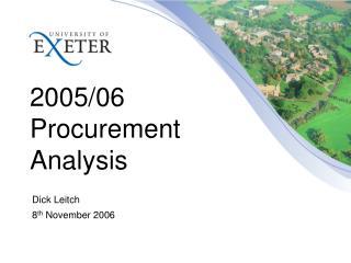 2005/06 Procurement Analysis