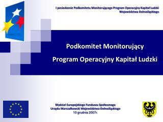 Podkomitet Monitorujący  Program Operacyjny Kapitał Ludzki