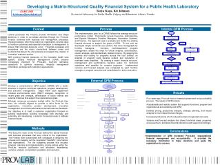 Developing a Matrix-Structured Quality Financial System for a Public Health Laboratory