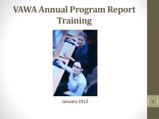 VAWA Annual Program Report Training