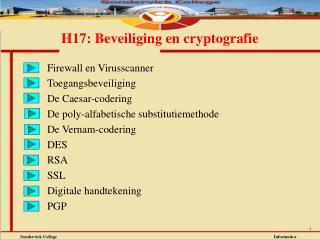 H17: Beveiliging en cryptografie